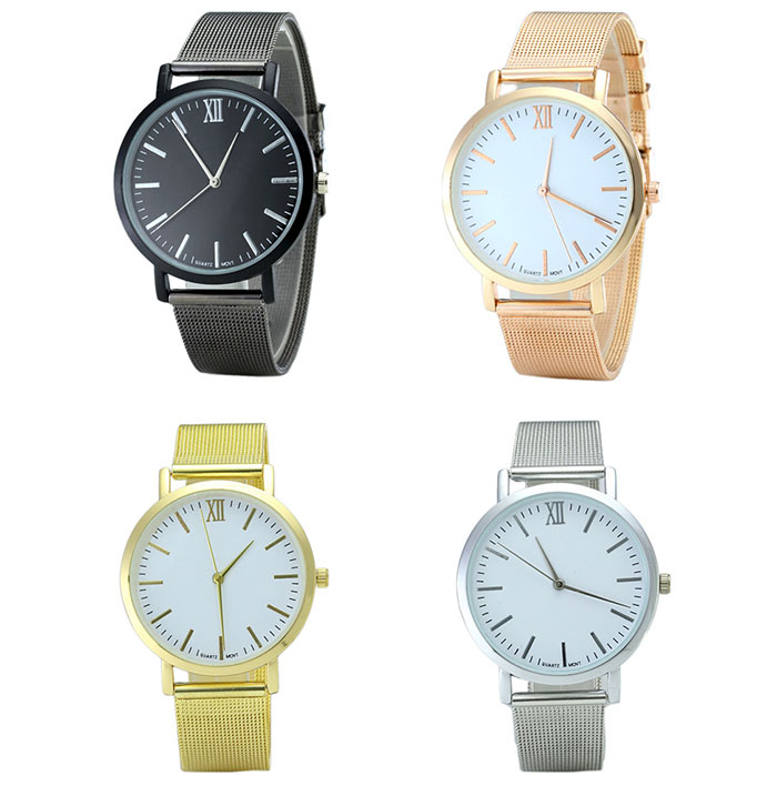 Alloy Mesh Strap Minimalist Quartz Watch