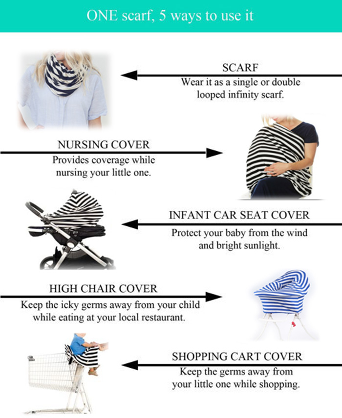 Wave Striped Breastfeeding Nursing Cover Scarf