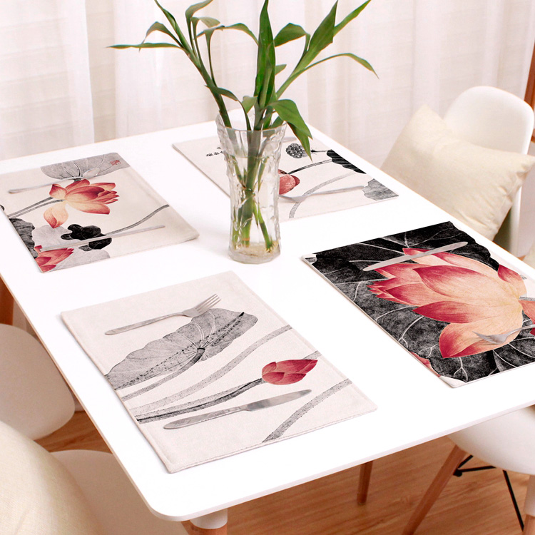 Chinese Lotus Heat Insulated Dining Decor Placemat