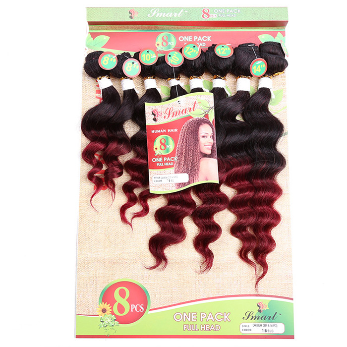 8PCS Different Sizes Caribbean Deep Wave Hair Wefts
