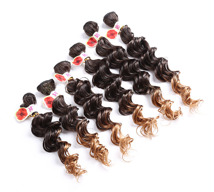 6PCS Ombre Colormix Deep Wave Synthetic Hair Wefts