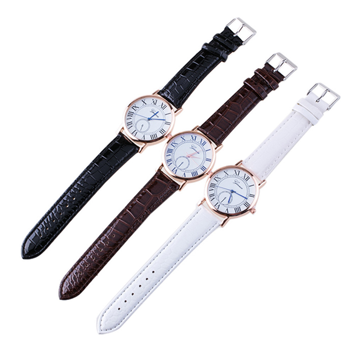 Roman Numerals Faux Leather Strap Watch