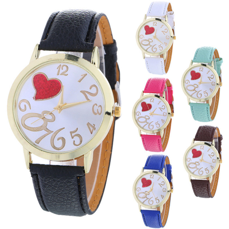 Faux Leather Strap Number Heart Face Watch