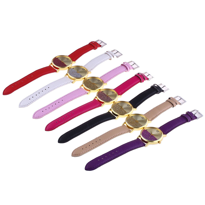 Glitter Face Faux Leather Watch