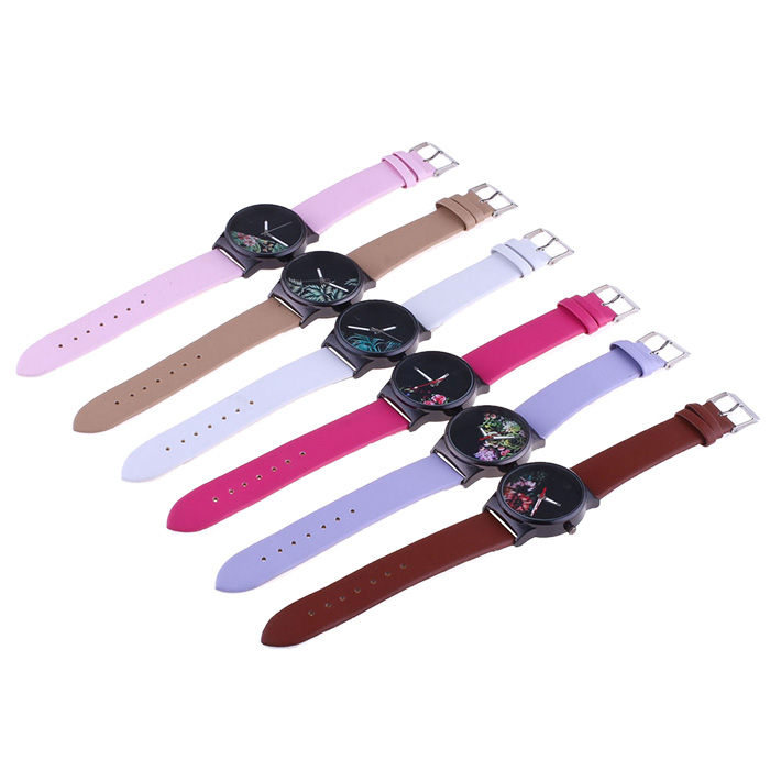 Faux Leather Flower Face Watch