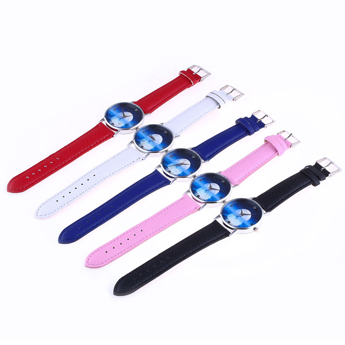 Sea Moon Face Faux Leather Strap Watch