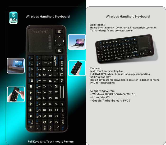 Mini Wireless Handheld Keyboard With Mouse Touchpad