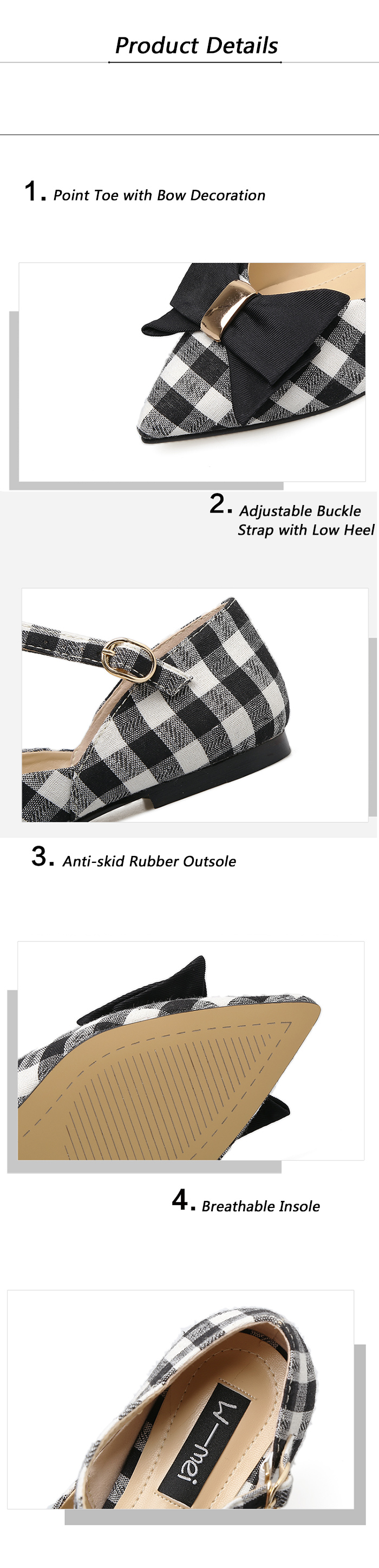 Buckle Strap Plaid Bowknot Flats