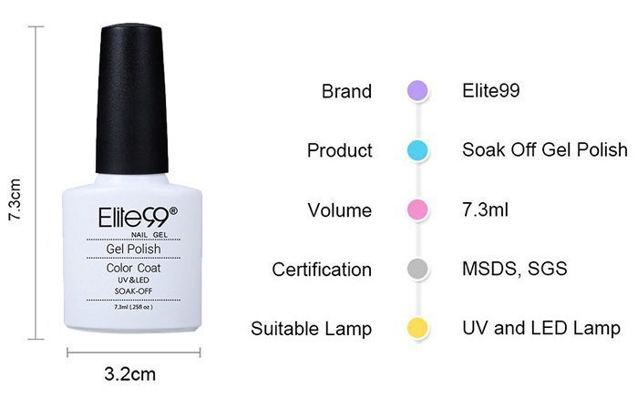 Elite99 Polish Soak Off White Light Grey Gel Nail Art