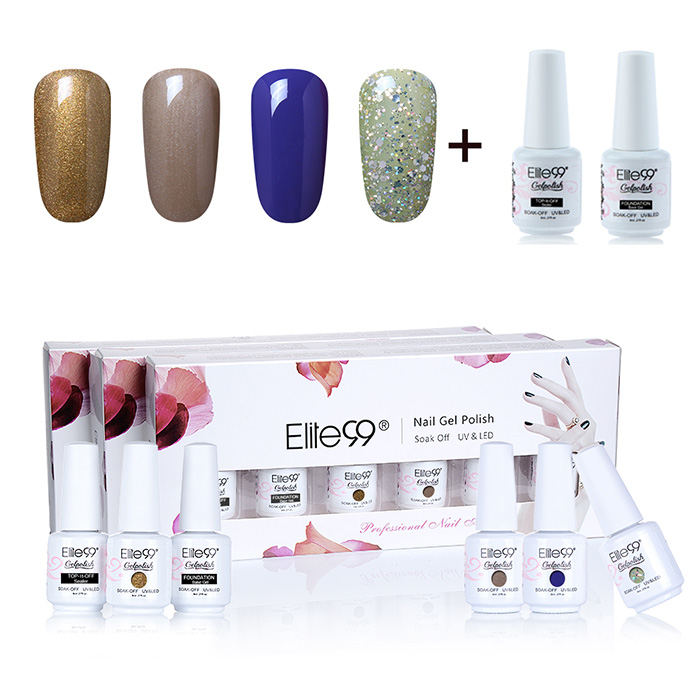 La LED UV polonaise imbibe Elite99 Gel Nail Set with Glitter Powder