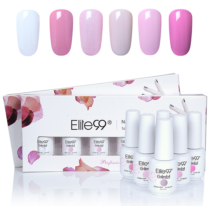 Ensemble de Vernis à Ongles Gel à Tremper Elite99 UV LED 6 Couleurs