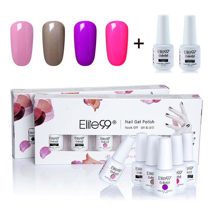 UV LED Gel Nail Polish Manicure Kit Elite99 4 couleurs Set