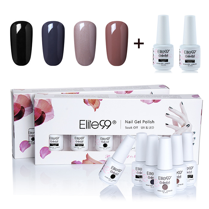 Ensemble de Vernis à Ongles Gel à Tremper Elite99 UV LED 4 Couleurs Profondes