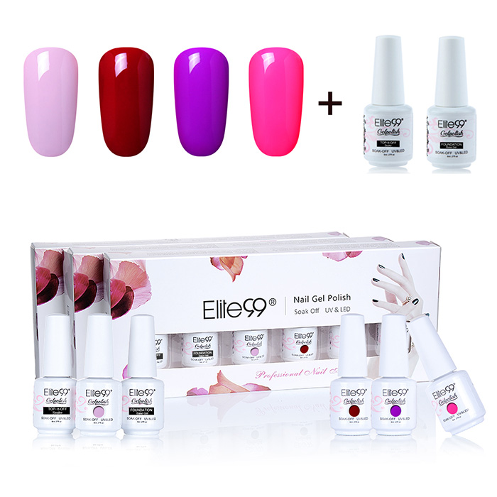 Elite99 6PCS Polish LED Soak Off Gel Nail Set