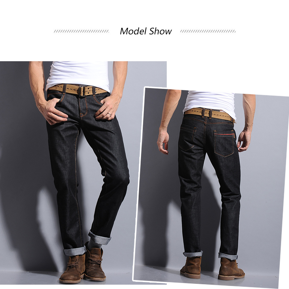 Pocket Zipper Fly Straight Leg Dark Wash Jeans