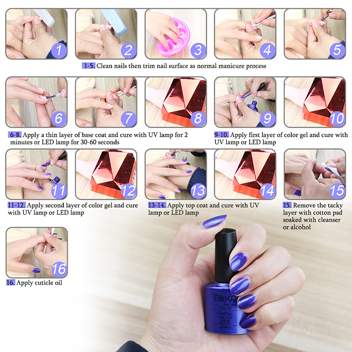 Elite99 UV LED Vernis à Ongle Gel à Tremper Multicolore Brillant  15 ml