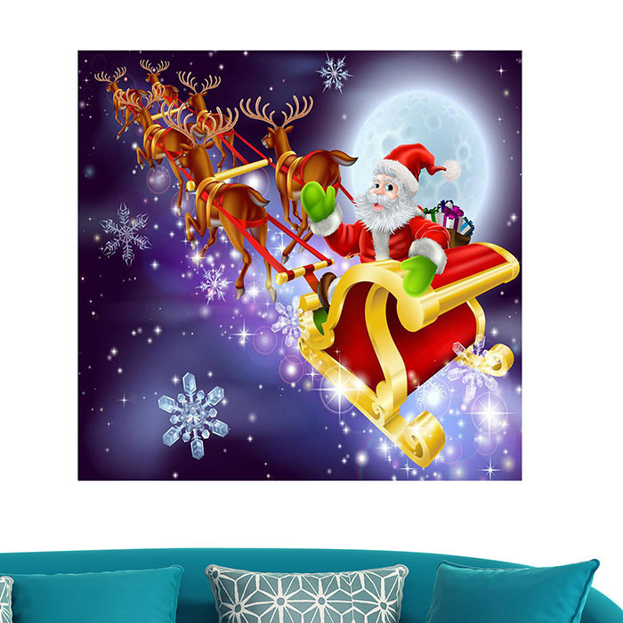 Santa Carriage Pattern Multifonction Stick-on Wall Art Painting
