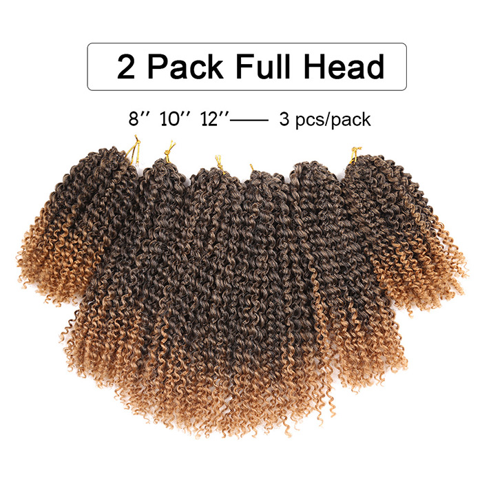 3 Pieces Afro Kinky Curly Twist Tresses Mali Bob Cheveux Synthétiques Weaves