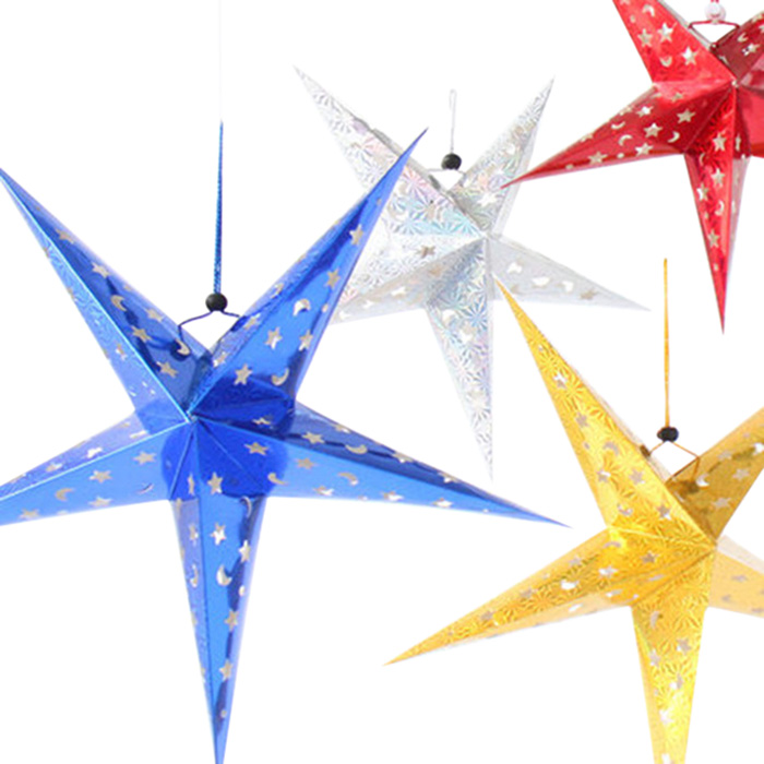 10pcs Noël Party Star Laser Hang décorations