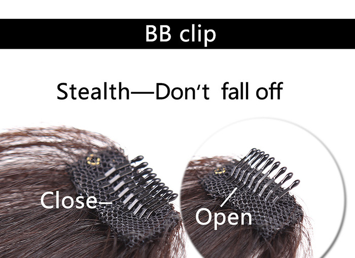 Cheveux humains Short Clip-in See-through Bang Extension de cheveux