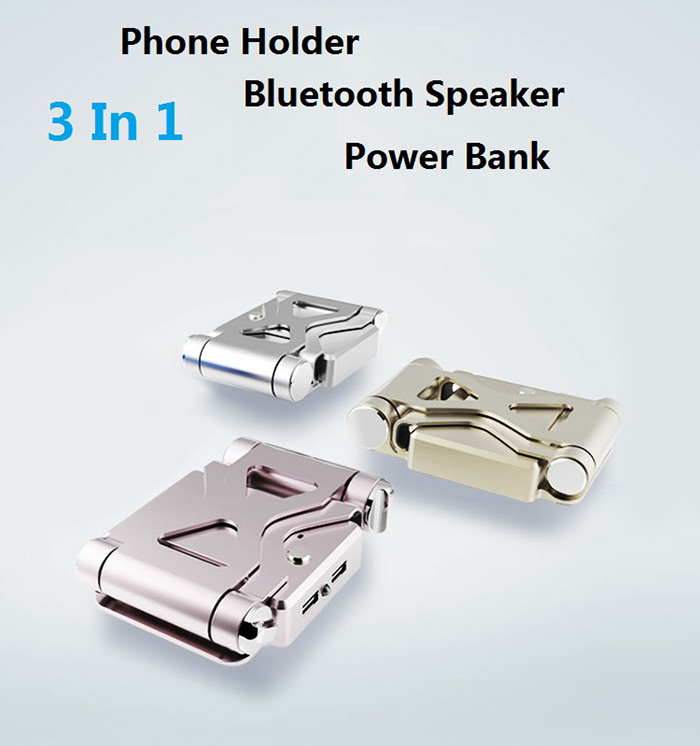 3 In 1 5200mAh Power Bank Bluetooth Speaker with Phone Holder