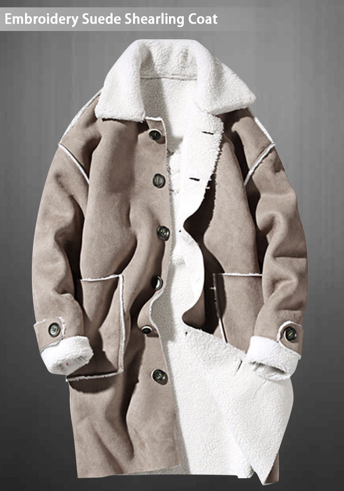 Borg Collar Broderie Suede Shearling Coat