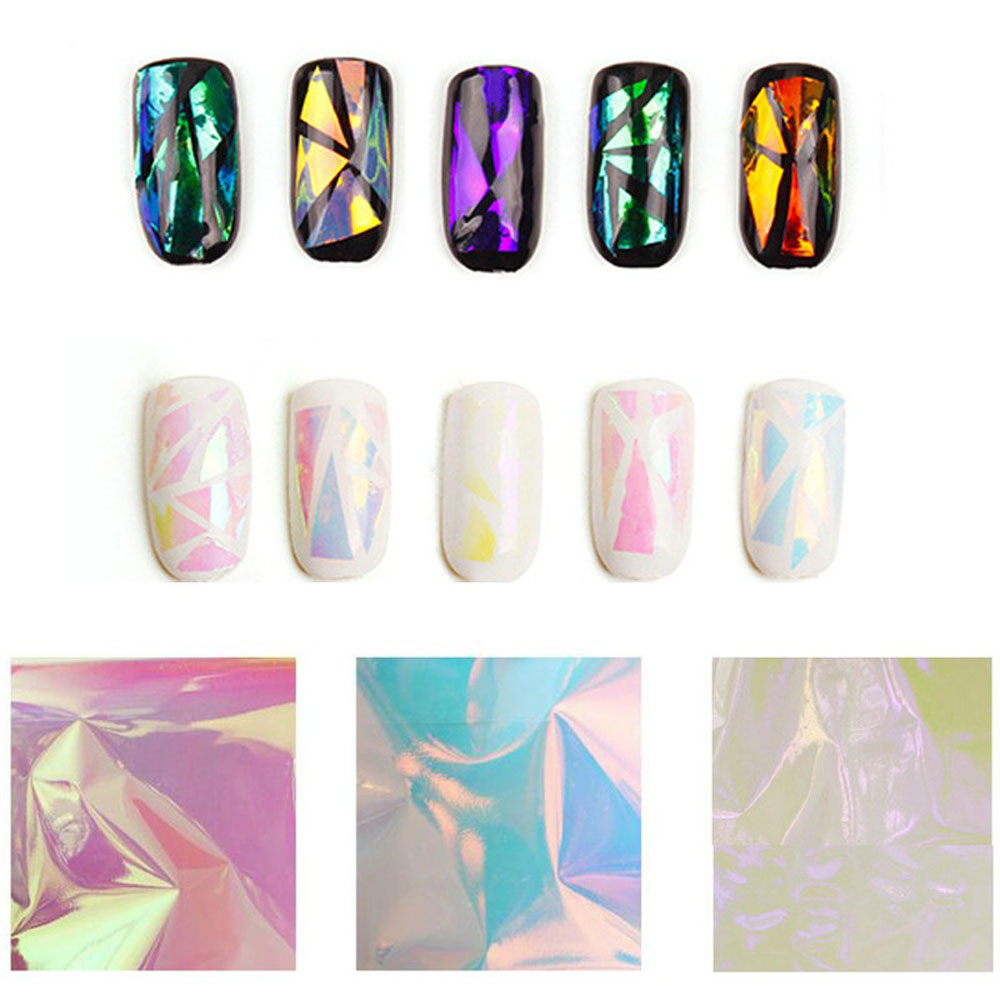 5 couleurs DIY Nail Art Stickers Decal pochoir feuille