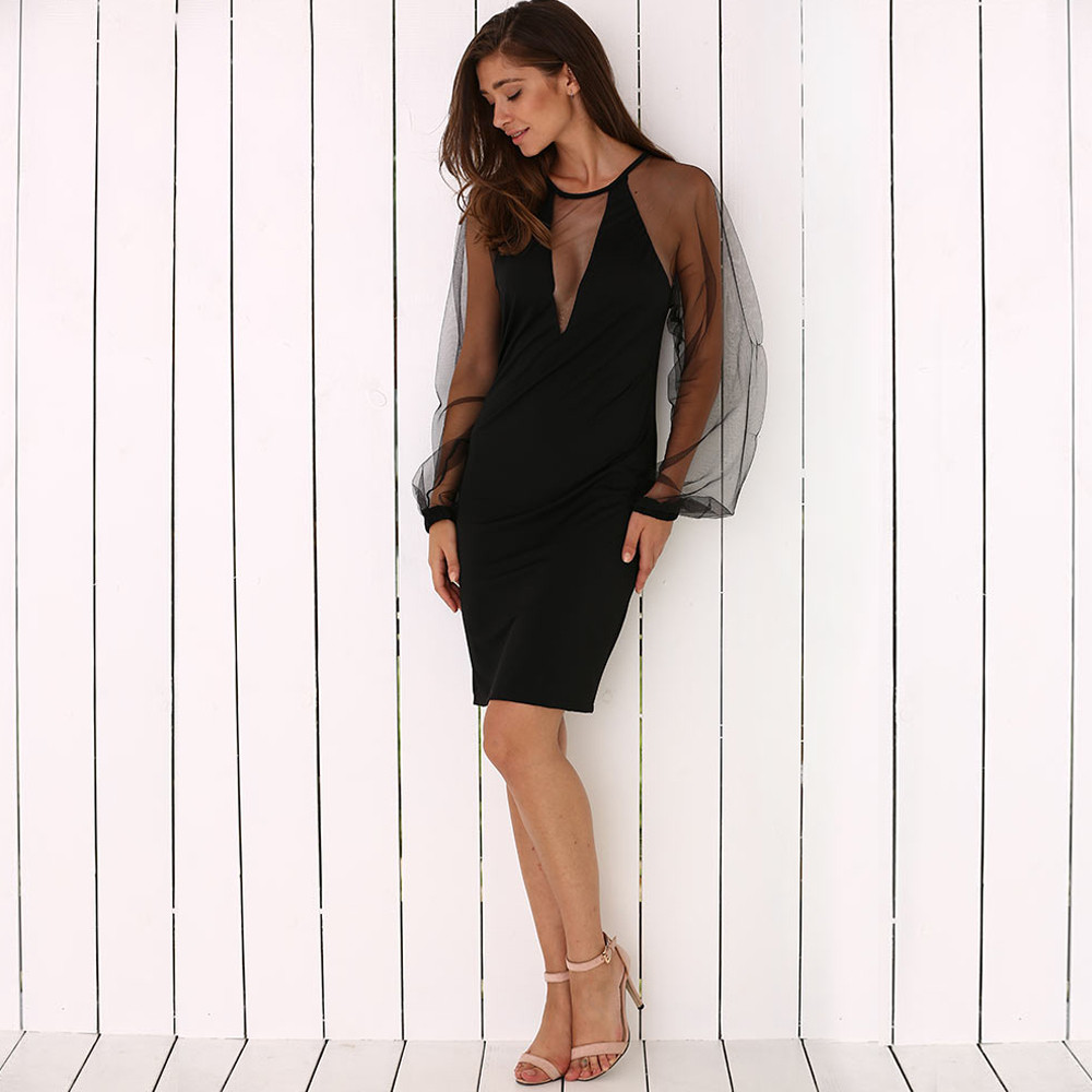 Elegant Round Collar Lantern Sleeve Spliced See-Through Women Black Dress