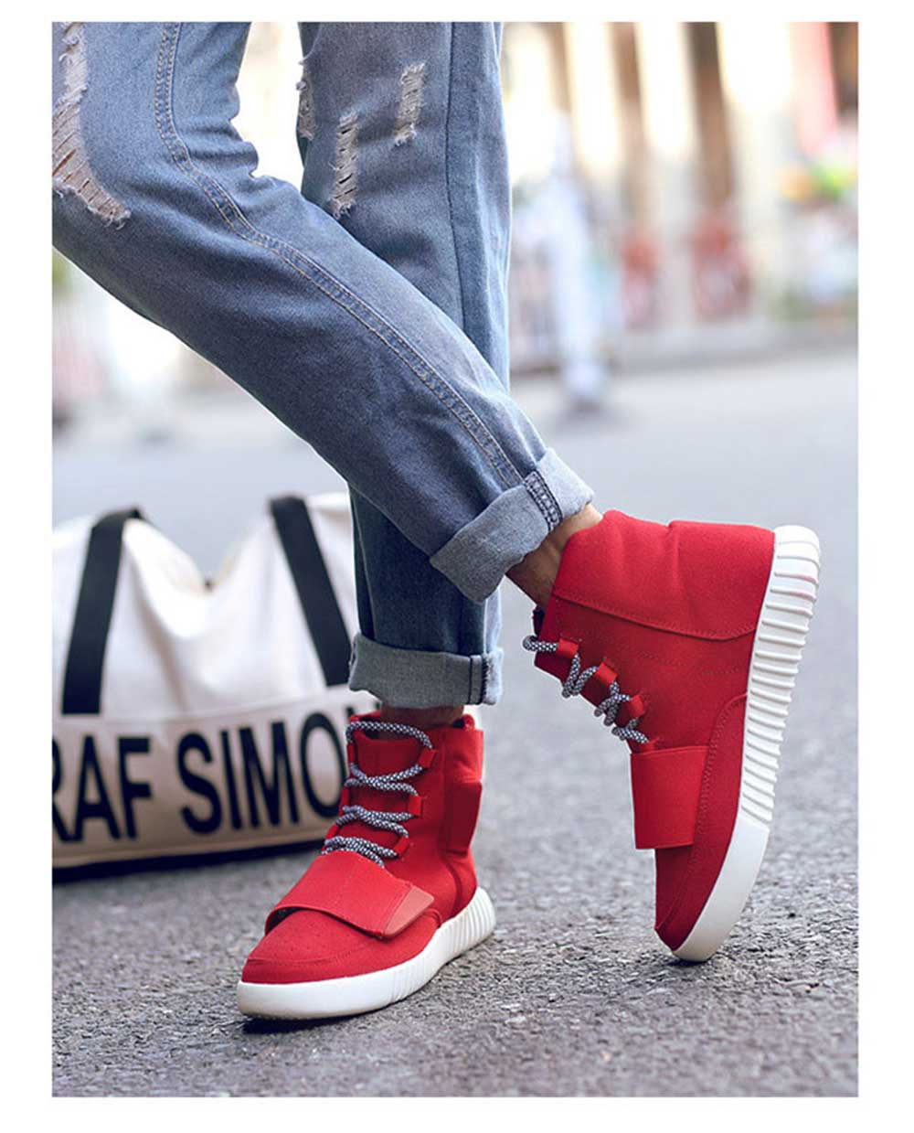 Fashionable Solid Color Magic Tape Design Dunk High Sneakers for Men