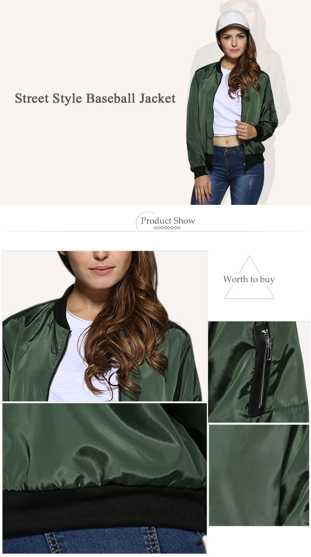 Street Style Stand Collar Pure Color Women Jacket