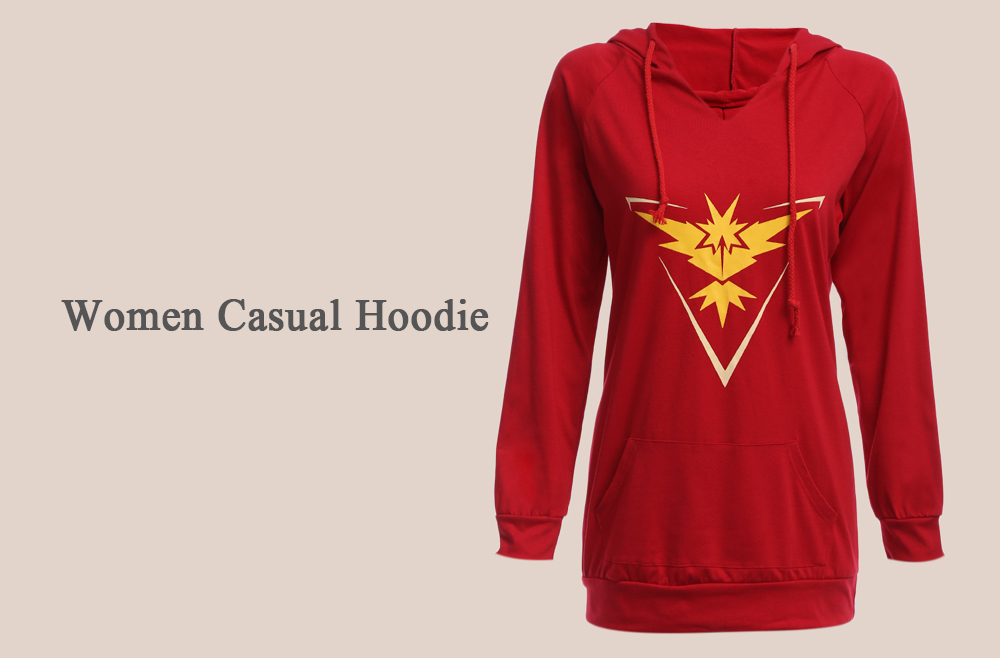 Casual Hooded Front Pocket Print Women Hoodie
