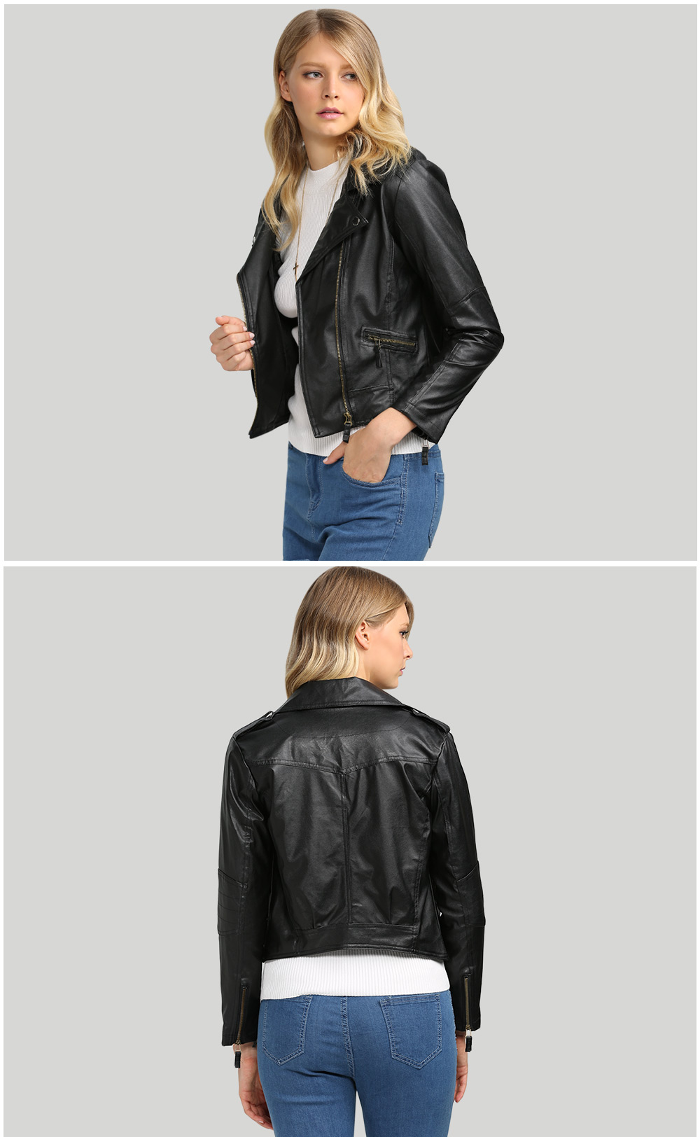 Trendy Turn Down Collar Women Biker Jacket