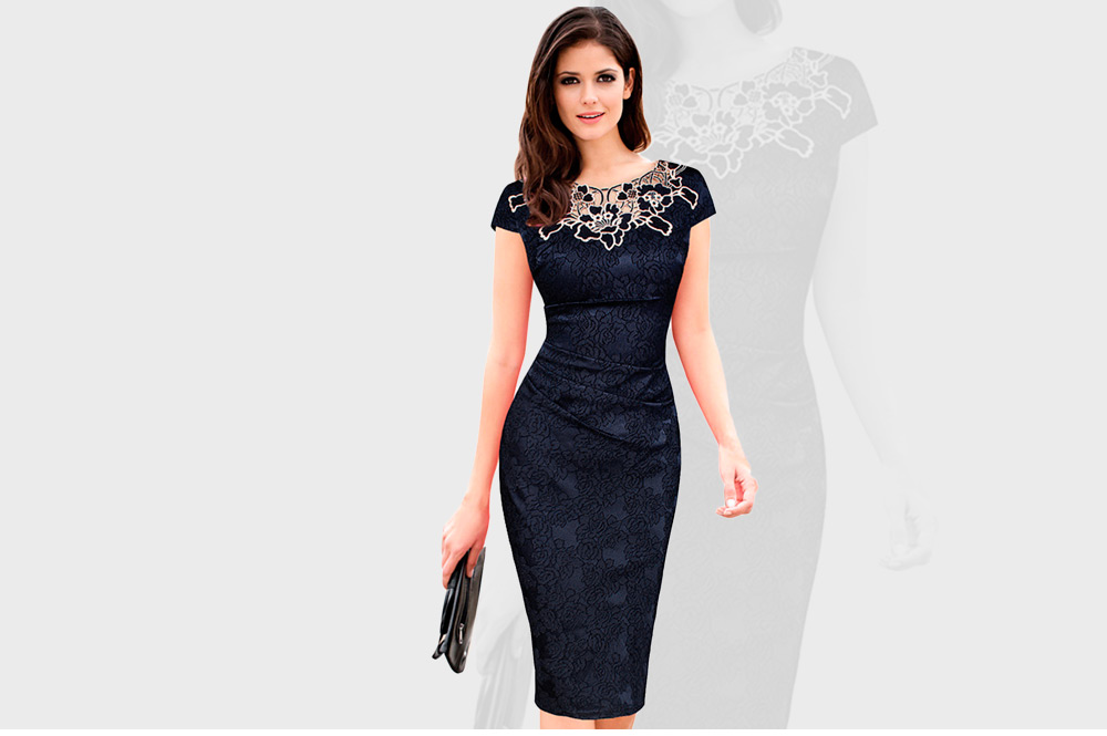 Round Collar Floral Embroidery Bandage Sheath Dress