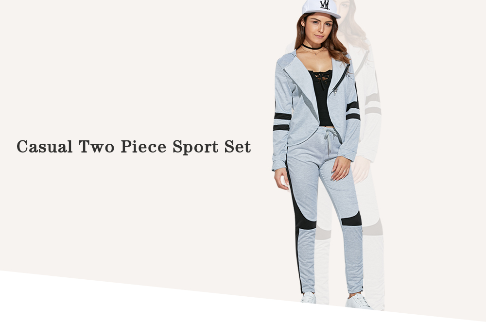 Casual Hooded Color Block Women Two Piece Sport Set