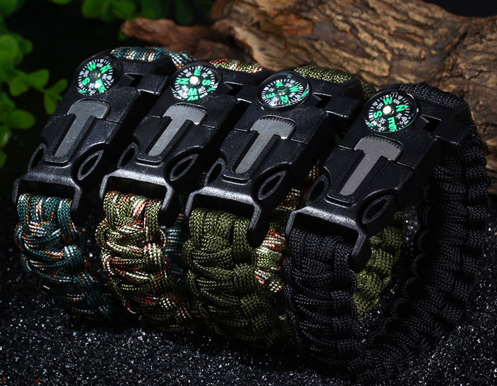 5 in 1 Outdoor Survival Gear Escape Paracord Bracelet Flint / Whistle / Compass / Scraper