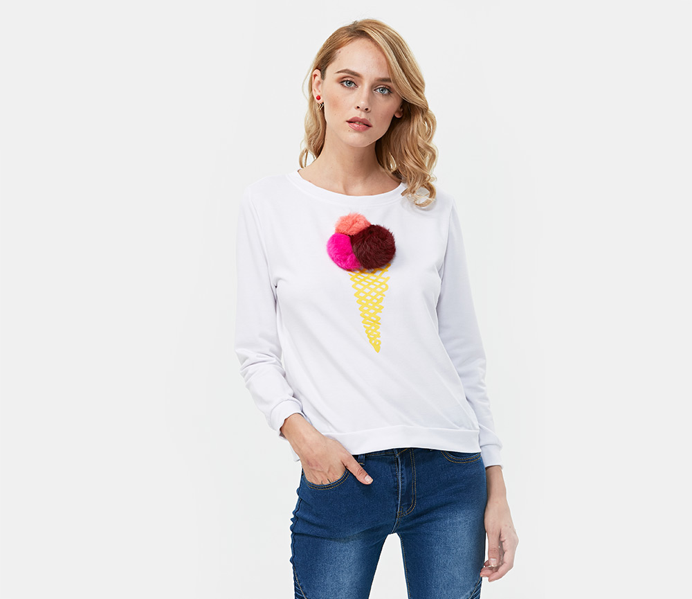 Trendy Round Collar Long Sleeve Ice Cream Print Pompom Decoration Women Sweatshirt