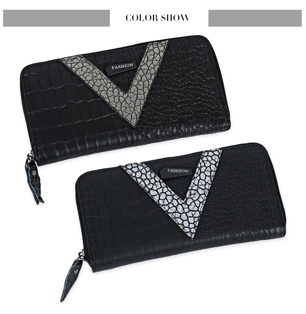 Faux Leather Zip Around Crocodie Wallet