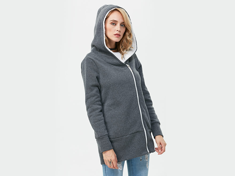 Casual Solid Color Zipper Design Long Sleeve Hoodies for Women