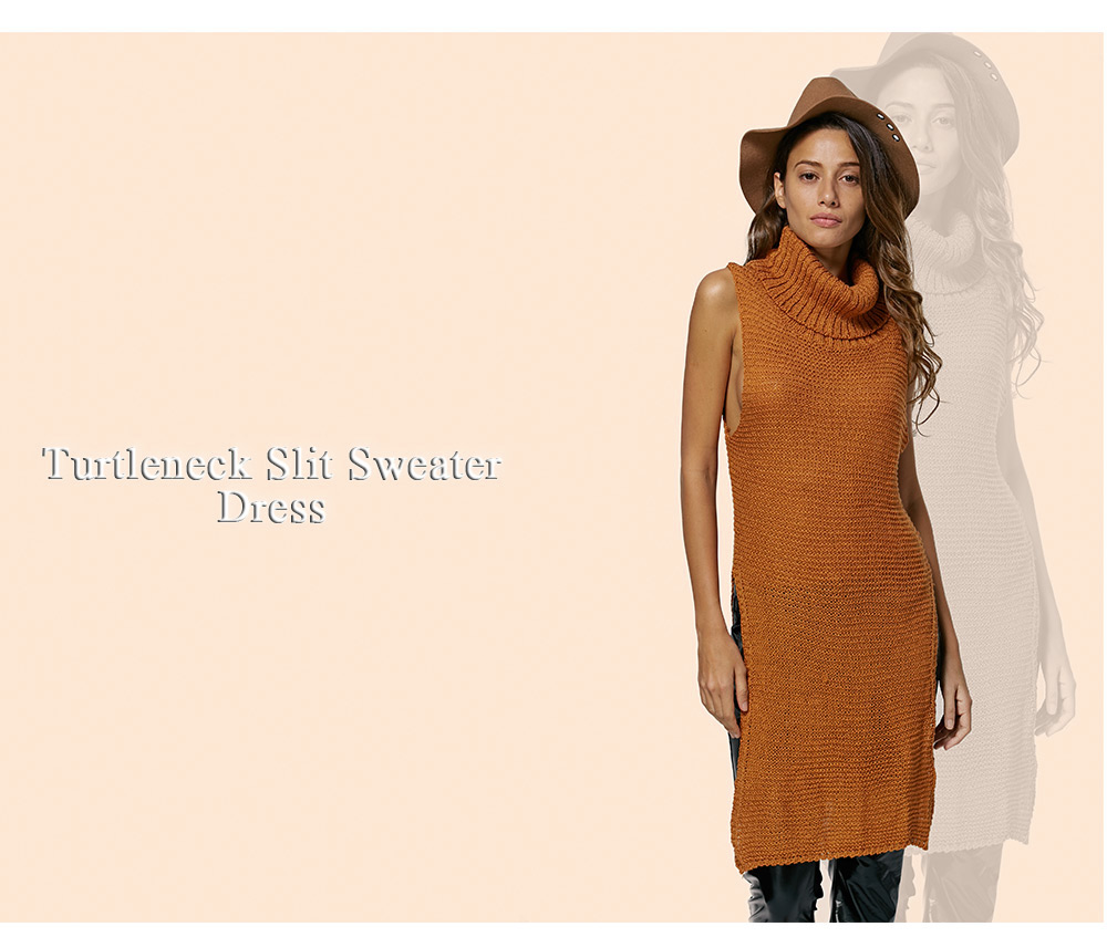 Simple Turtleneck Sleeveless Pure Color Women Slit Sweater Dress