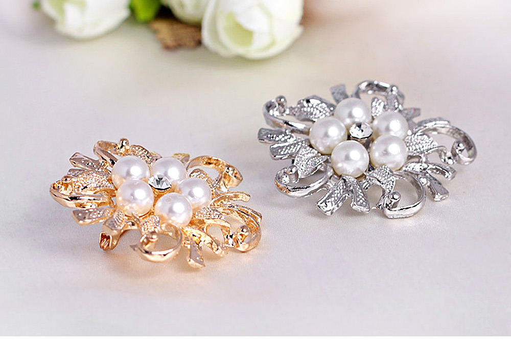 Fashion Pearl Decoration Platinum Plated Wedding Party Birthday Brooch for Ladies