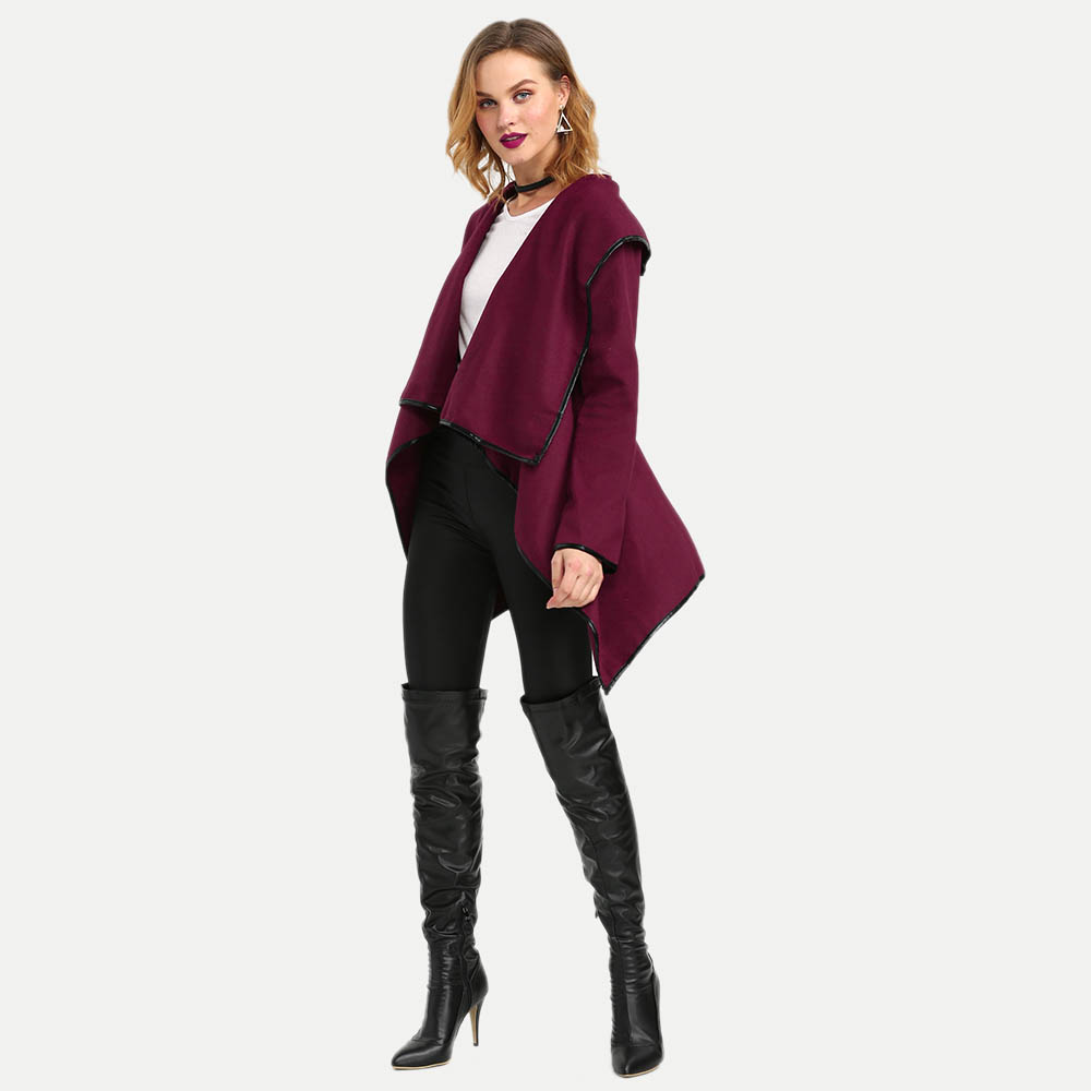 Stylish Turn-down Collar Long Sleeve Pure Color Woolen Cardigan Type Coat
