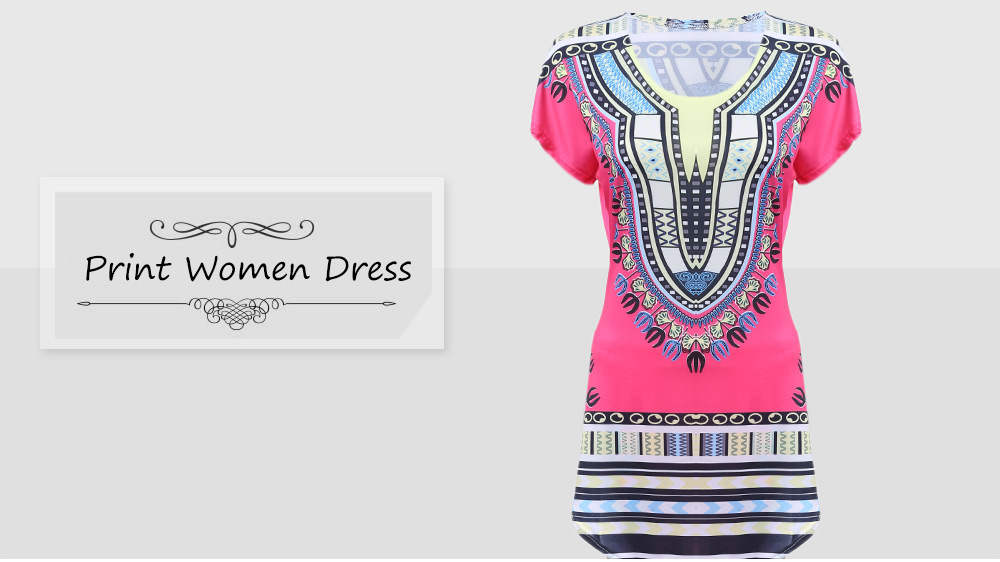 Old Classical  Style Round Neck Colorful Pattern Print Sheath Women Twinset