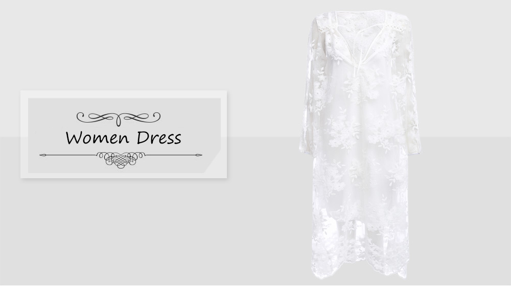 Fashion V-neck Three Quarter Sleeve See-through Embroidery Lace Women Dress