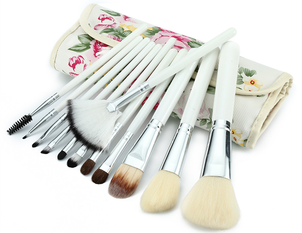 12pcs Professional Makeup Brushes Set Peony Printed Case