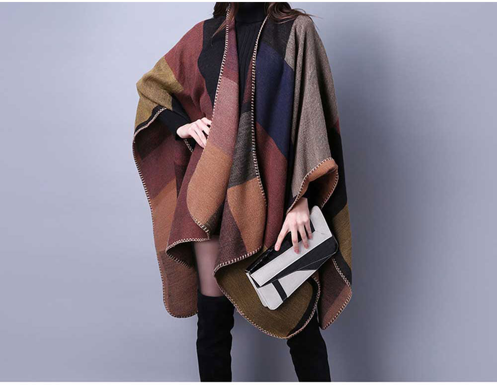 Winter Ethnic Style Color Block Warm Scarf for Women