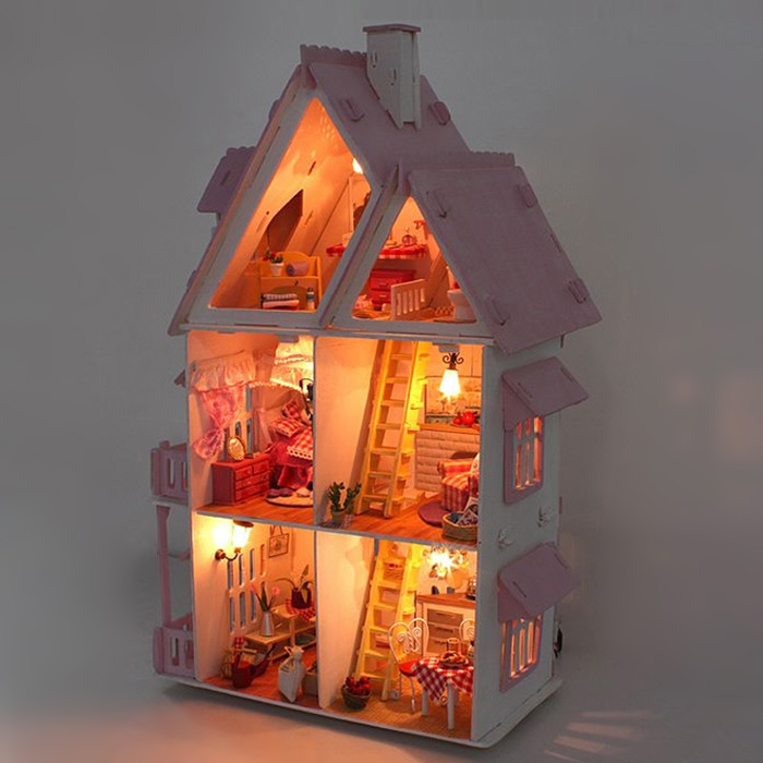 Iiecreate Lovely DIY Handmade Villa 42cm Height Princess Dream-house Birthday Gift