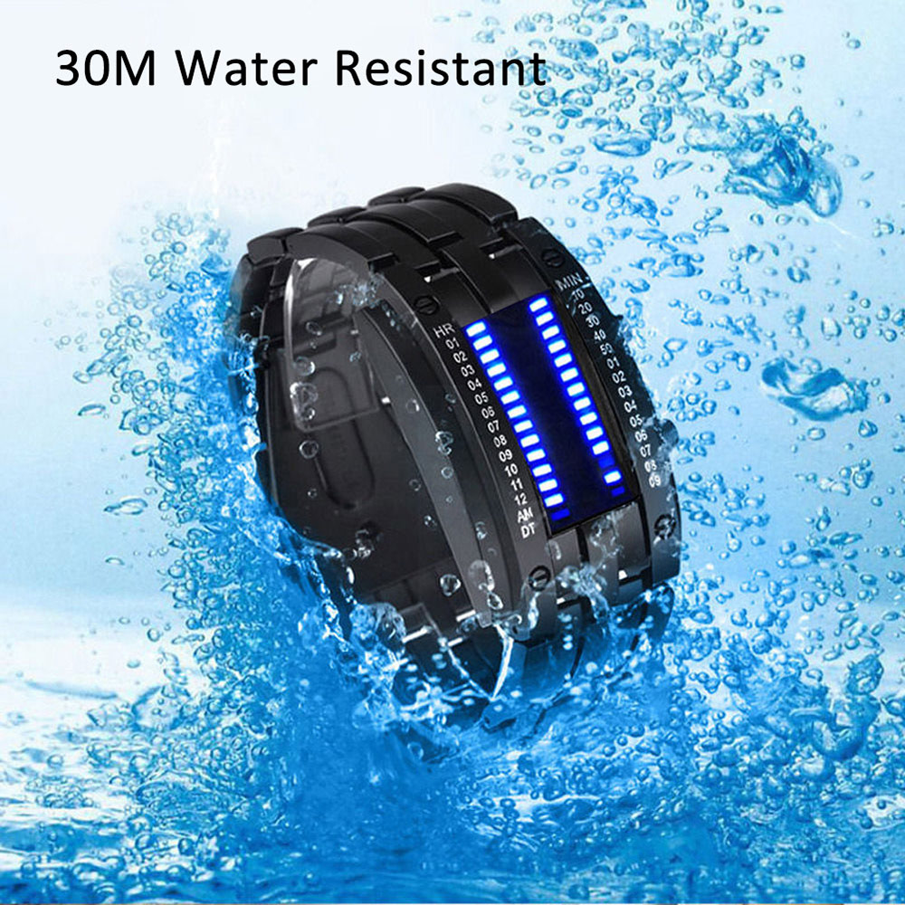 Montre Bracelet Homme LED Digital Numéretion Binaire Cadran Rectangle