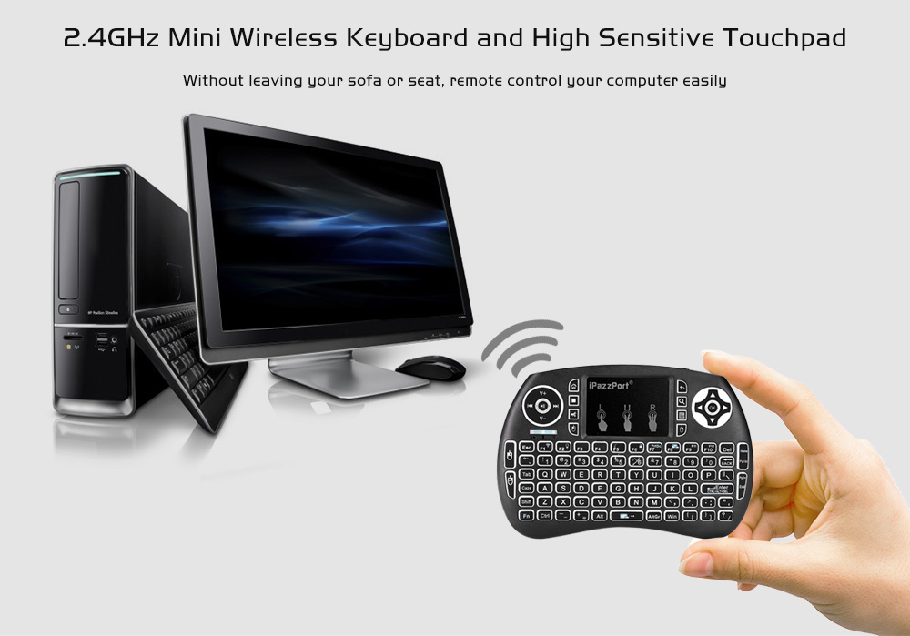 iPazzPort Wireless Mini Keyboard Backlight Function with Touchpad