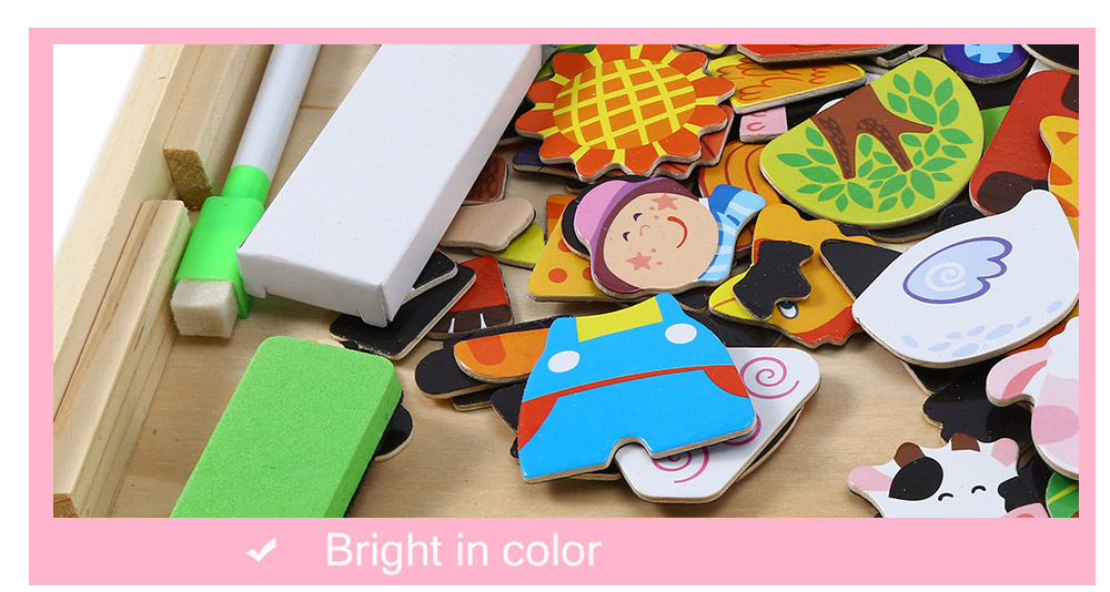 Muwanzi Colorful Wooden Magnetic Drawing Board Puzzle Learning Education Jouets pour enfants