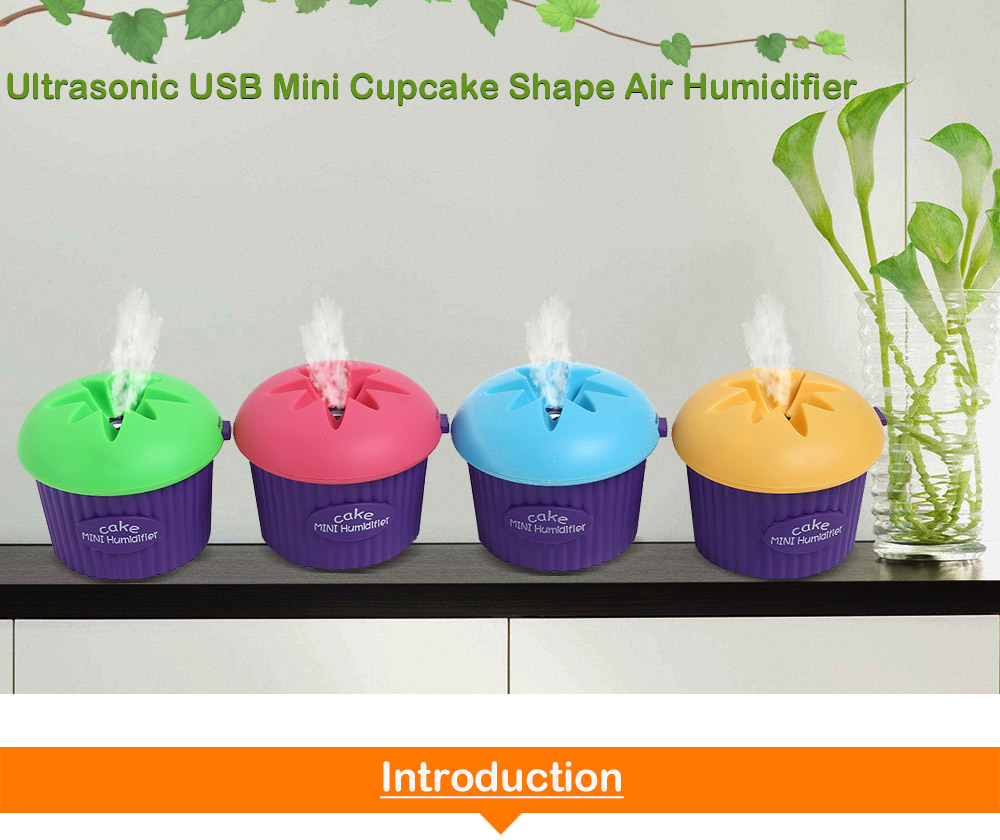 200ml Ultrasonic USB Cool Mist Mini Cupcake Shape Humidifier